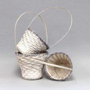 [6022W] White Bamboo Hand Woven Basket-S/3