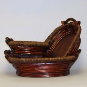 [KD5364] Stained Willow Basket- S/3